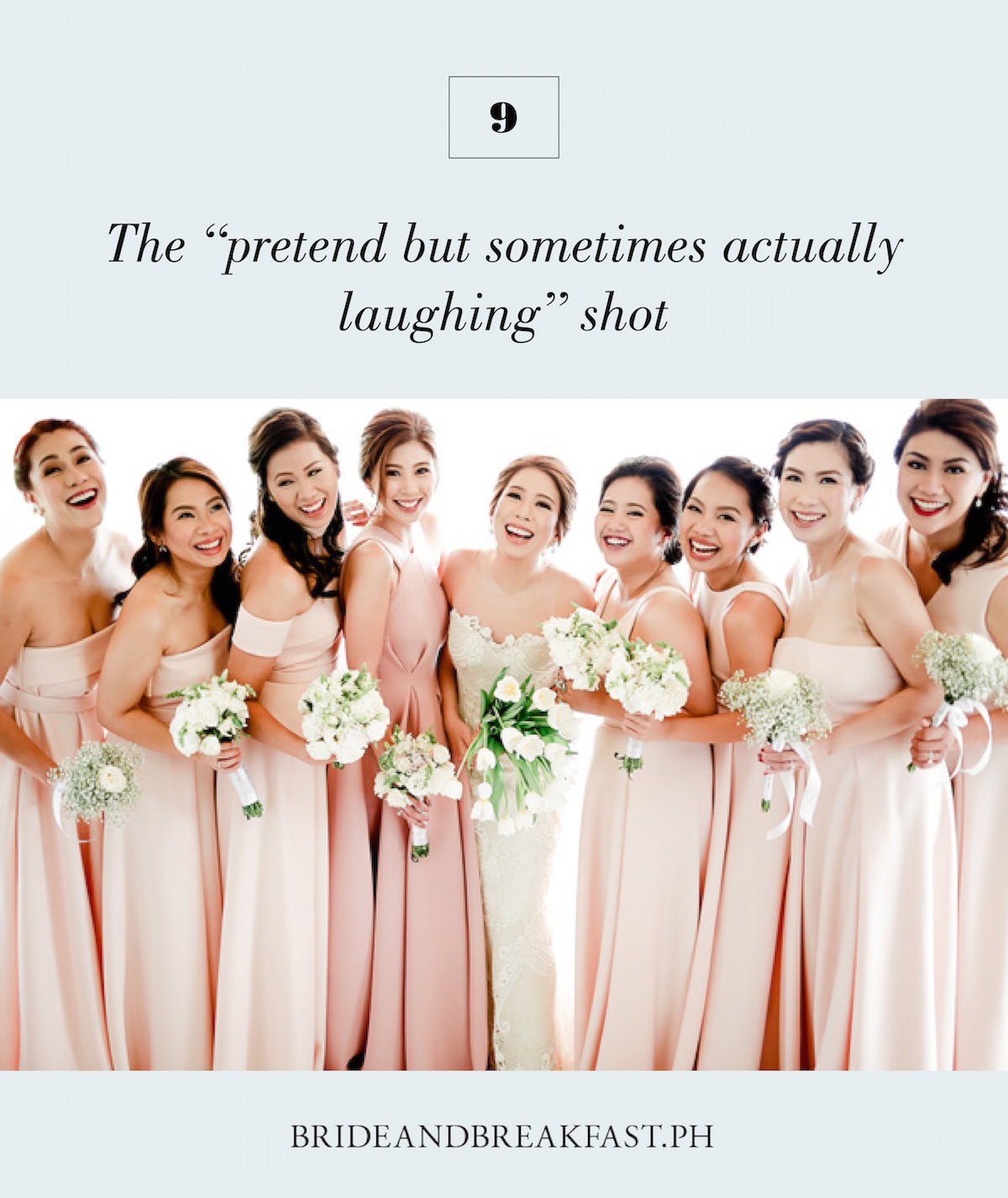 """9.The """"pretend but sometimes actually laughing"""" shot"""